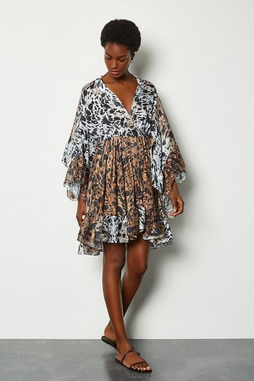 Animal Fluted Sleeve Wrap Short Dress