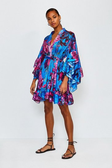 Blue Fluted Sleeve Wrap Short Dress