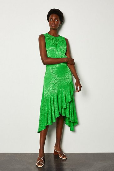 Green Jacquard Sleeveless Dress