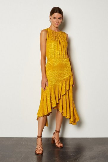 Mustard Jacquard Sleeveless Dress