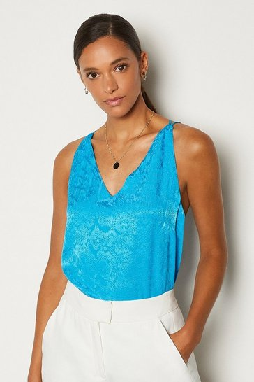 Blue Animal Jacquard Cami