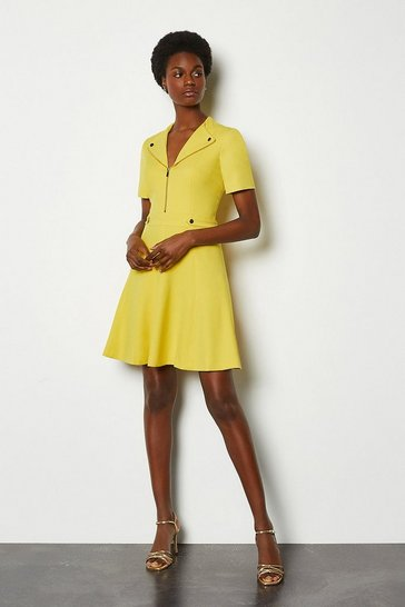 Yellow Zip Placket Short Sleeve A-Line Dress