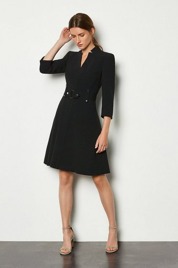 Black Forever Cinch Waist A-Line Dress