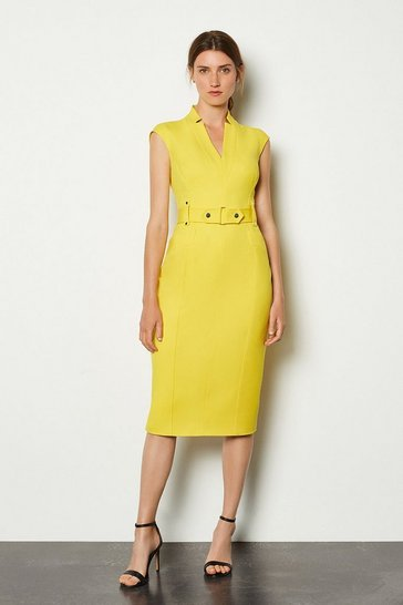 Yellow Forever Cinch Waist Cap Sleeve Pencil Dress