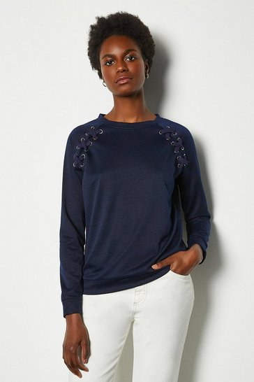 Navy Crew Neck Lounge Long Sleeve Jumper