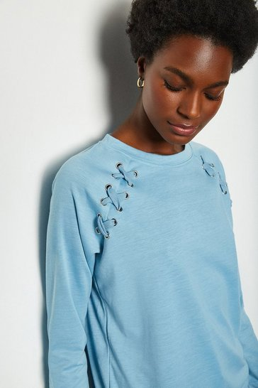 Pale blue Crew Neck Lounge Long Sleeve Jumper