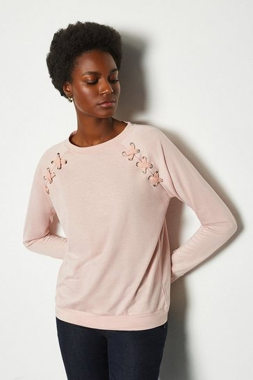 Pale pink Crew Neck Lounge Long Sleeve Jumper