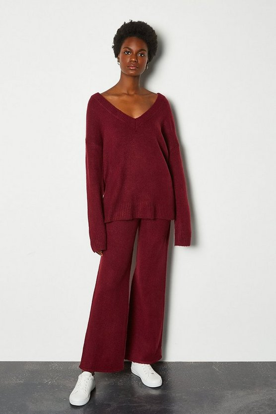 Berry Wide Leg Lounge Knit Trousers
