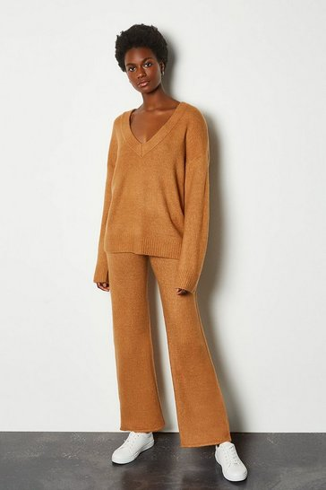 Camel Wide Leg Lounge Knit Trousers