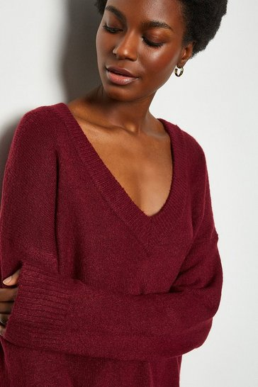 Berry V-Neck Lounge Long Sleeve Jumper