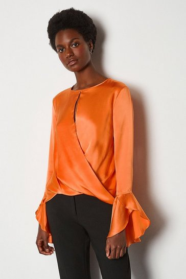 Orange Silk Satin Draped Blouse