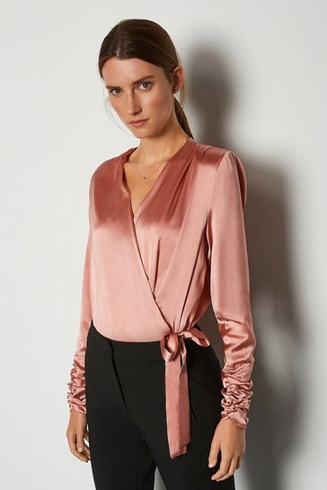 Rose Silk Satin Wrap Front Bodysuit