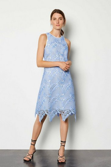 Blue Cutwork Lace Skater Dress