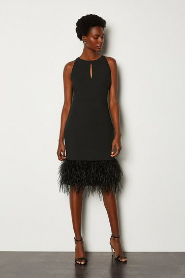 Black Feather Hem Halter Neck Dress