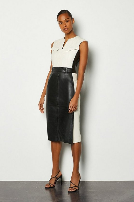 Blackwhite Leather Colourblock Dress