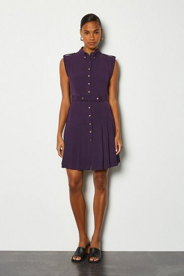 Aubergine Soft Military Flippy Belted Dress