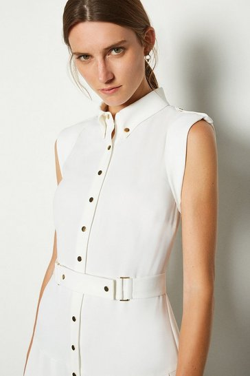 Ivory Soft Military Flippy Belted Dress