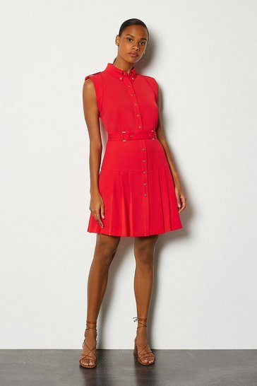 Red Soft Military Flippy Belted Dress