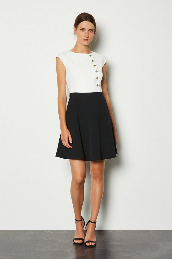 Blackwhite Soft Colour Block Popper Dress