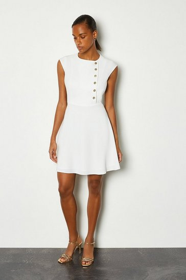Ivory Soft Colour Block Popper Dress
