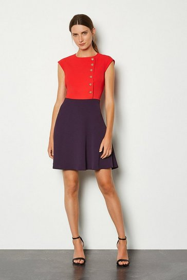 Multi Soft Colour Block Popper Dress