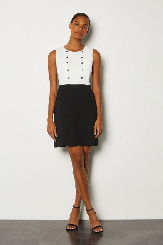 Blackwhite Soft Military Day Dress