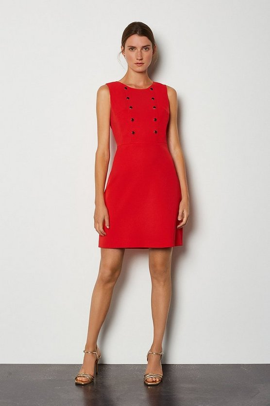 Red Soft Military Day Dress