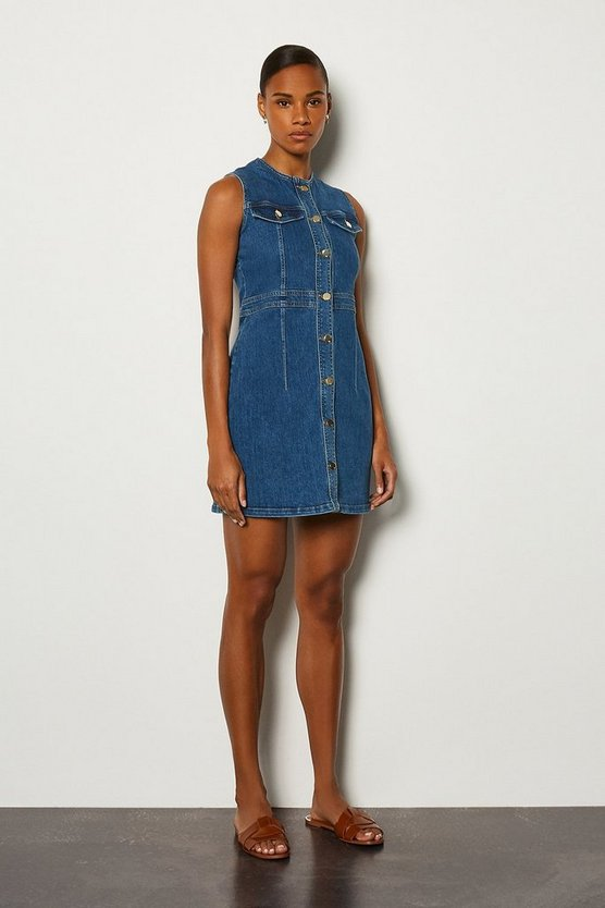 Mid blue Sleeveless Pocket Detail Denim Dress