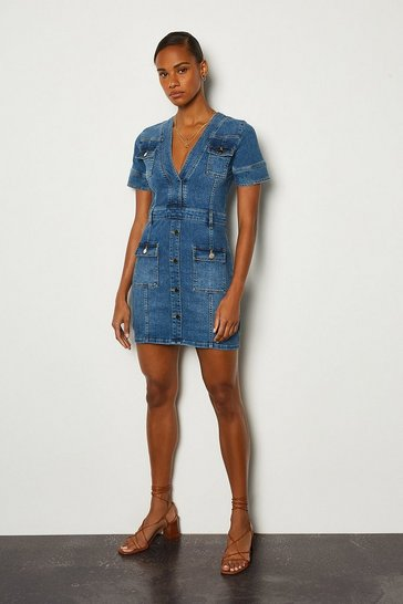 Mid blue Pocket and Gold Button Denim Dress