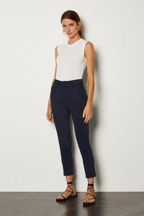 Navy Skinny Cotton Capri Jean