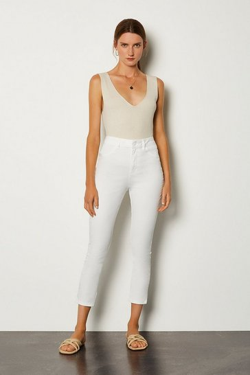 White Skinny Cotton Capri Jean