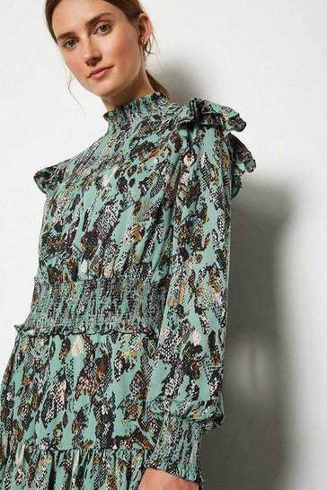 Blue Snake Print Ruffle Short Dress