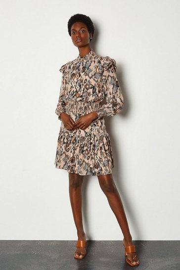 Nude Snake Print Ruffle Short Dress