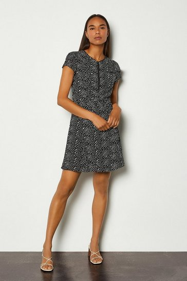Black Graphic Spot Ruffle Short Dress