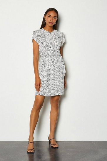 White Graphic Spot Print Ruffle Short Dress