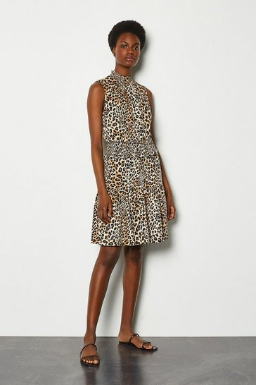 Leopard Sleeveless Animal Print Ruffle Short Dress