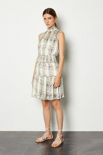 Snake Sleeveless Animal Ruffle Dress