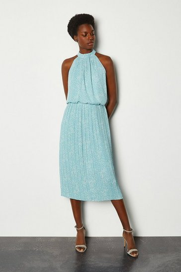 Blue High Neck Spot Midi Dress
