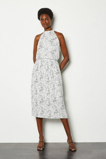 White High Neck Spot Midi Dress