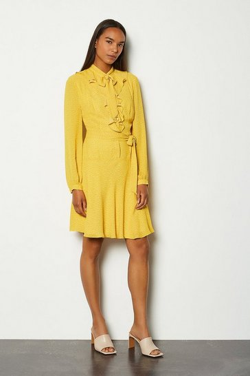 Mustard Polka Dot Ruffle Dress