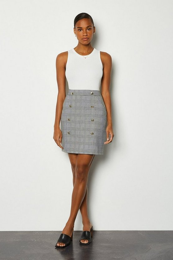 Blackwhite Check Button Detail Skirt