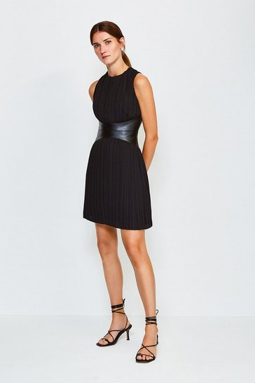 Black PU and Pleat Dress