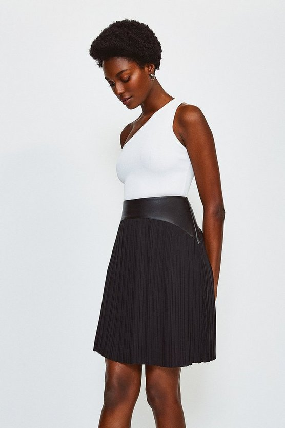 Black PU and Pleat Skirt