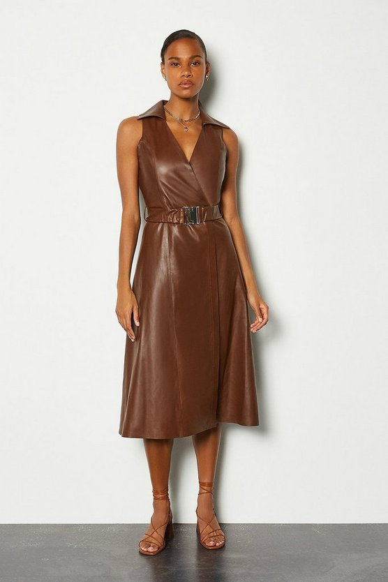 Brown Leather Wrap Belted Dress