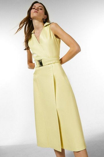 Lemon Leather Wrap Belted Dress