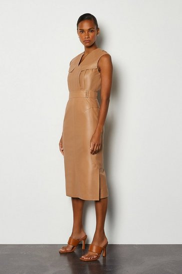 Tan Leather Pocket Detail Dress
