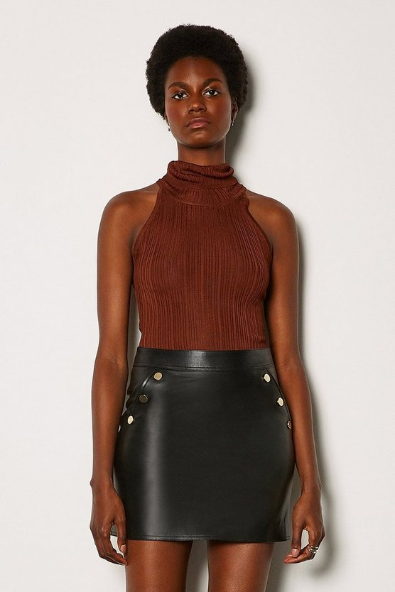 Black Leather Gold Popper Mini Skirt