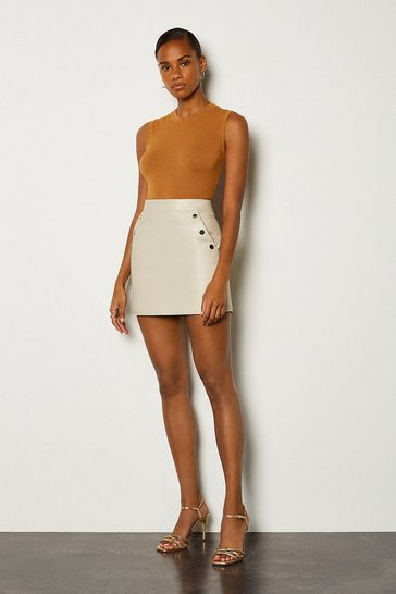 Cream Leather Gold Popper Mini Skirt