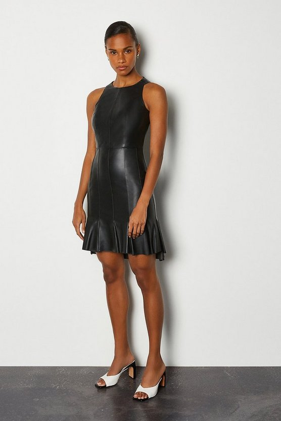 Black Leather Dipped Panel Hem Dress