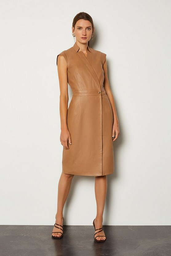Tan Leather Wrap Dress